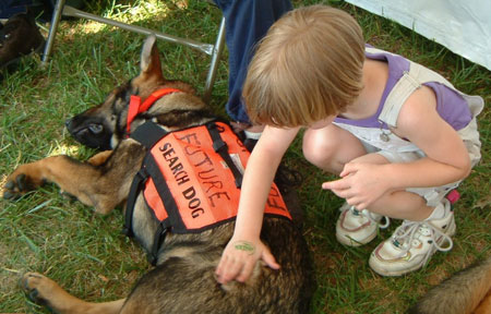SAR dog with child